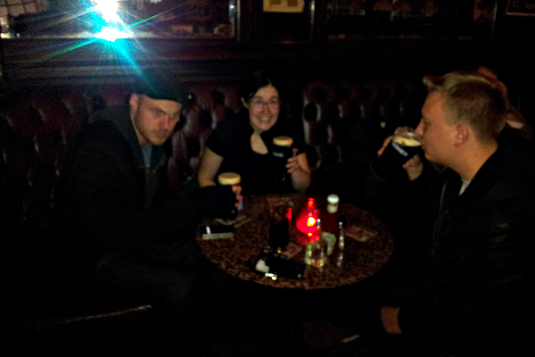 Tim, Saraj and Daniel get their pints of Guinness in a real Dublin pub before racing back to London