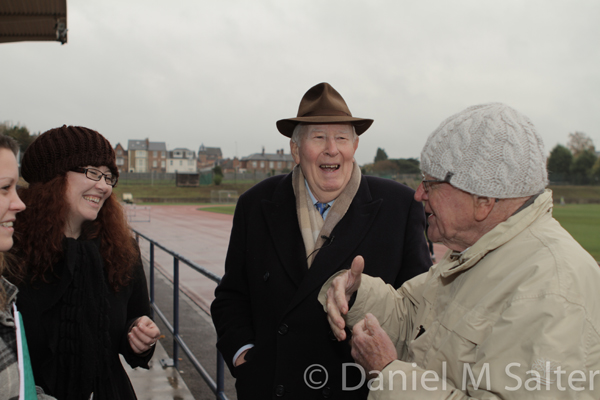 Natasha Bromhall (Oxford University Sport Dept.), Sally McLean, Sir Roger Bannister and Sir Christopher Chataway at Oxford during filming