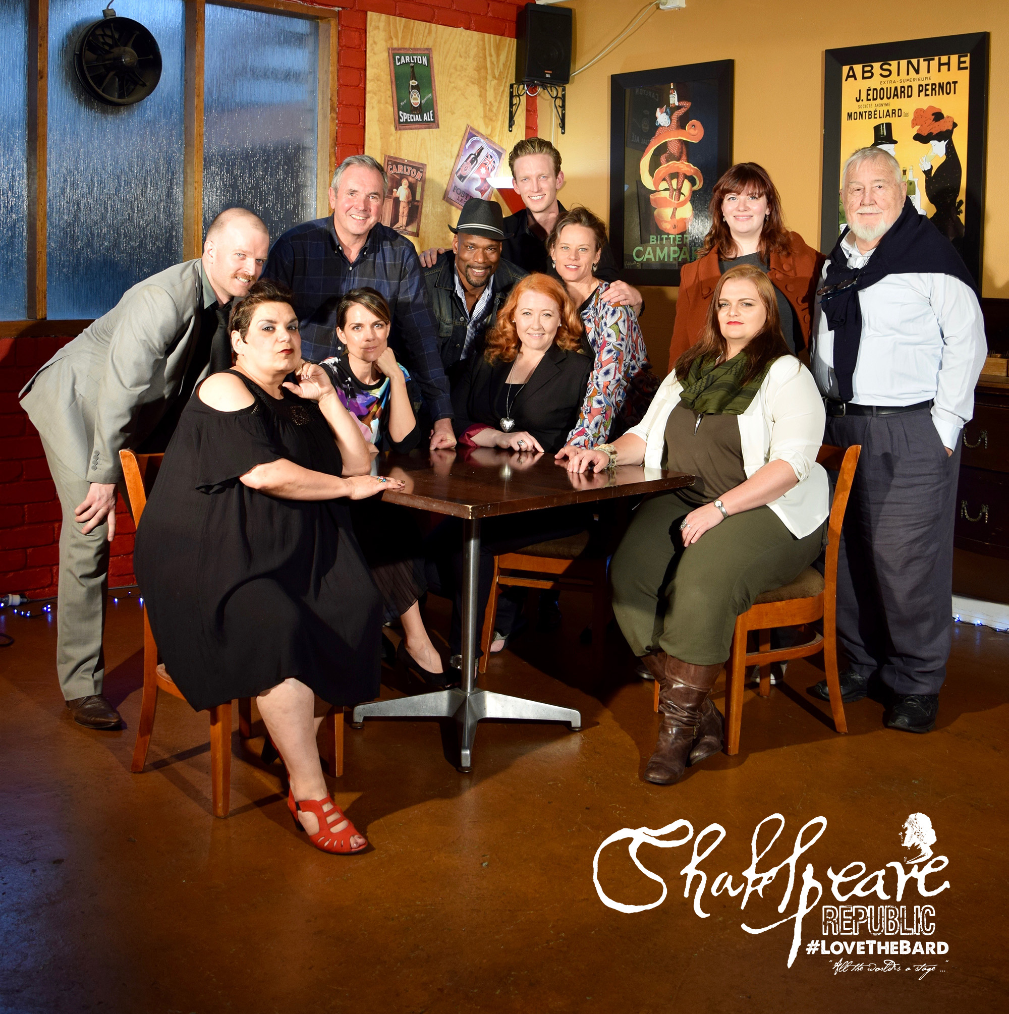 Shakespeare Republic Season Two Cast: Billy Smedley, Alan Fletcher, Christopher Kirby, Shane Savage, Nadine Garner, Phoebe Anne Taylor, Stephen Costan, Wahibe Moussa, Michala Banas, me (Sally McLean) and Falon Ryan.  Missing from this photo - Dean Haglund and Tariro Mavondo.